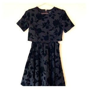 Topshop cut out dress with velvet floral pattern.